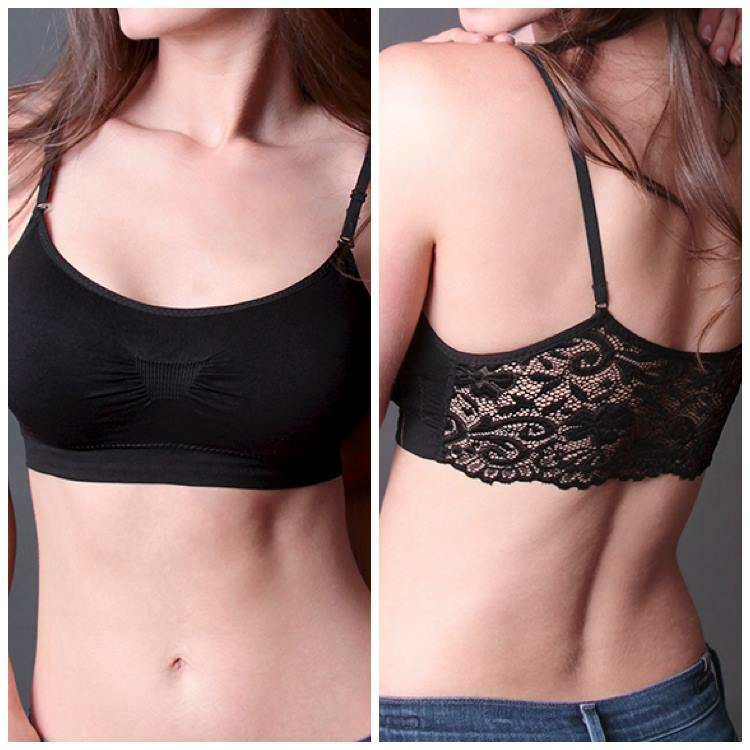 Lace Back Scoopneck Black