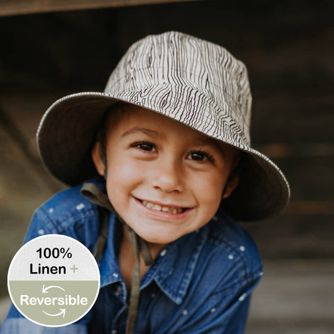 Heritage Explorer Boys Kids Reversible Sun Hat- Bark/ Olive