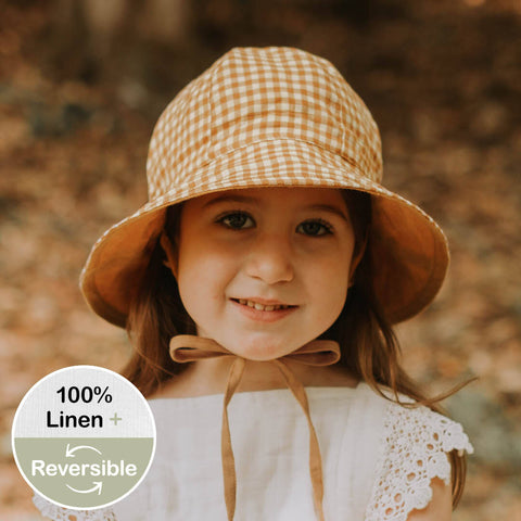 Heritage Wanderer Girls Reversible Sun Hat- Gingham/ Maize