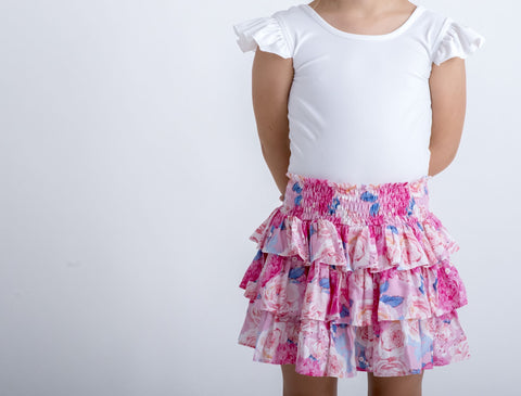 Fluro Pink Floral Tiered Skirt