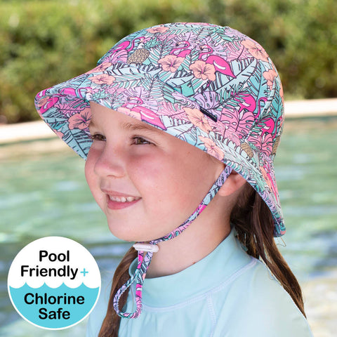 Girls Beach Hat Bucket UPF50+ Tropical Print