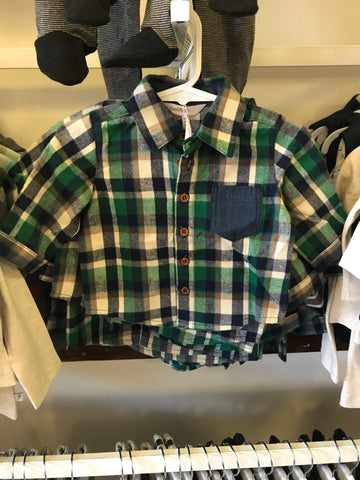 Checked flannel top- multi chec
