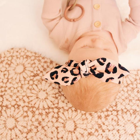 Blush Leopard Print Top Knot Headband