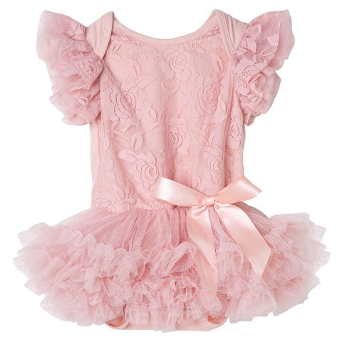 Libby Lace Romper- Tea Rose