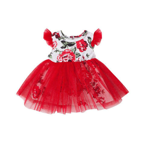 PEARL FLORAL DOLL DRESS - RED