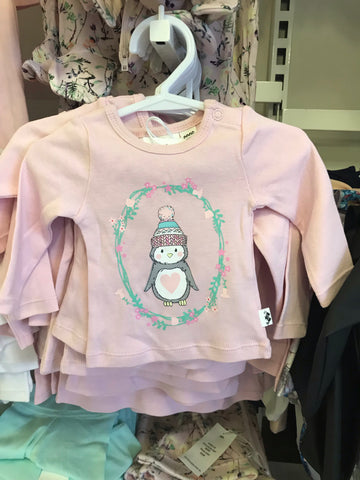 Penguin Long Sleeve Tee- pink