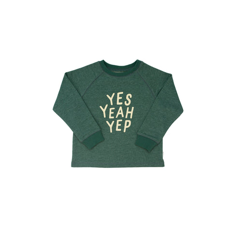 Yes Yeah Yep Pullover- green marle