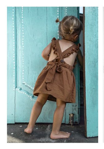 Milk Maid Dress (Frill Pinafore)- Dusty Brown