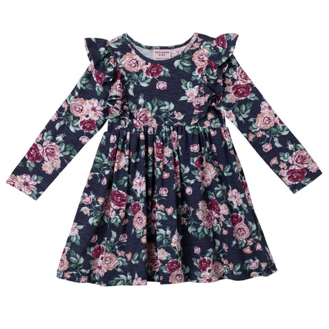 AUDREY FLORAL L/S HAZEL DRESS - NAVY PREORDER