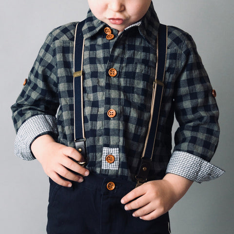 Boys Large Gingham Check Shirt- grey/blue large check