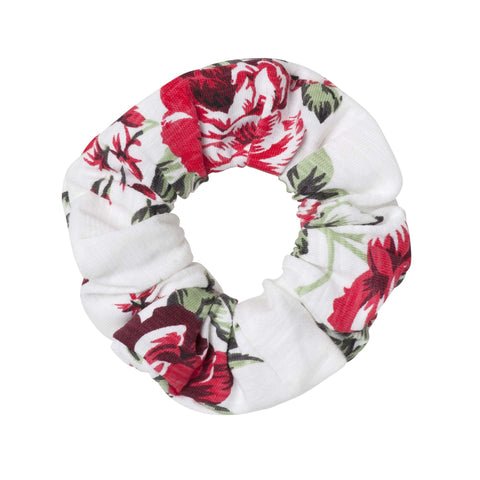 PEARL FLORAL SCRUNCHIE - RED