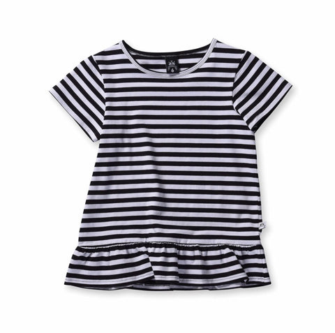Girls Standard Stripe Tee-Black Stripe