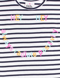 Hey Tee- navy & white Stripes