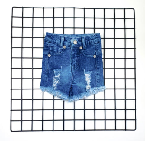 Girls Ripped Denim Shorts