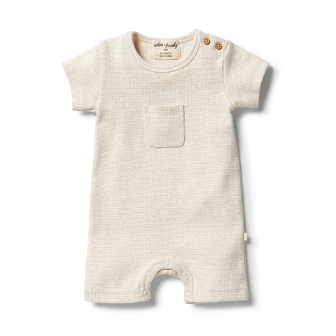 Oatmeal Organic Stripe Rib Growsuit
