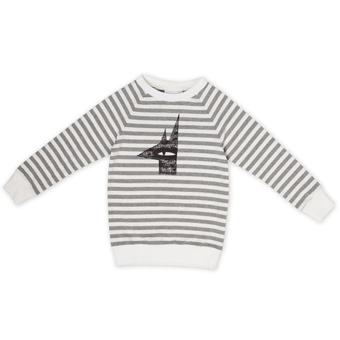 Creep through the night Placement Jumper Grey/white stripe