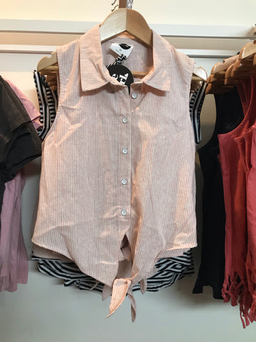 Miley Shirt-pink white stripe
