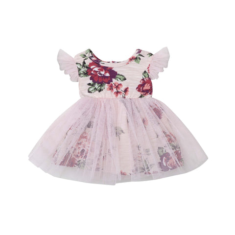PEARL FLORAL DOLL DRESS - PINK