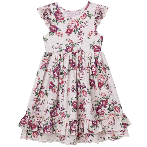 PEARL FLORAL S/S SWING DRESS - PINK