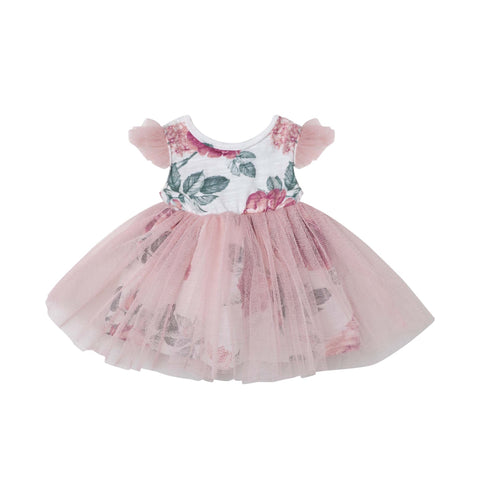 AUDREY FLORAL DOLL DRESS - TEA ROSE