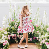 PEARL FLORAL S/S HAZEL DRESS - RED