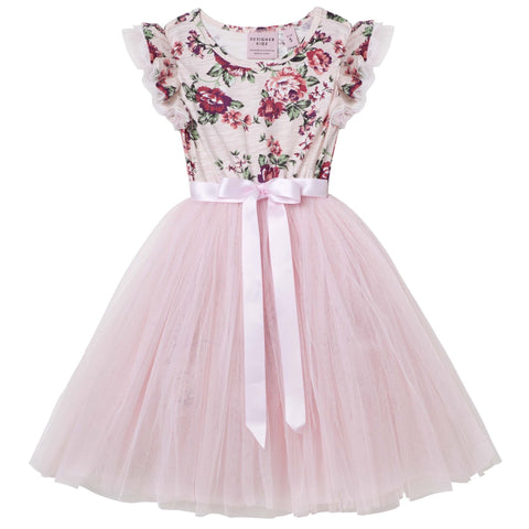 PEARL FLORAL S/S TUTU DRESS - PINK