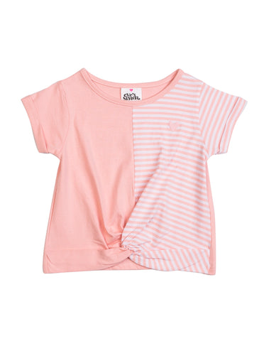 Reeva Tee-pink, pink & White Stripes