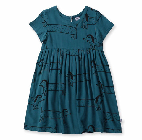 Girls Dachshund woven Dress- Jade