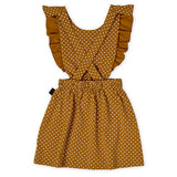 Straight from the heart ruffle pinafore dress- caramel brown