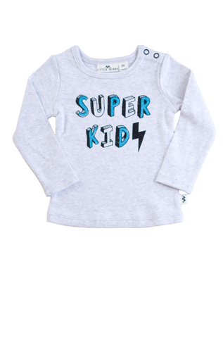 Super Kid Long Sleeve Tee- Grey marle