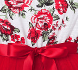 PEARL FLORAL S/S TUTU DRESS - RED