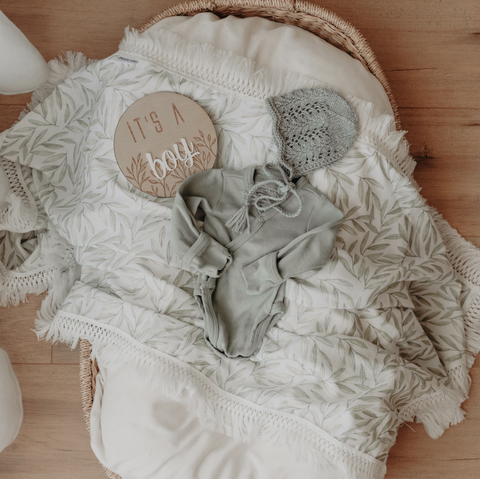 Vines Swaddle with Cream Fringe