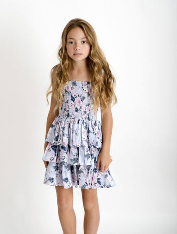 Powder Blue Peony Tiered Shirred Dress