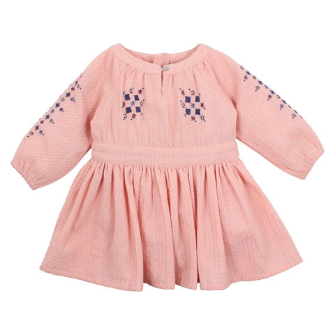 Fleur Embroidered Dress- Dusty pink