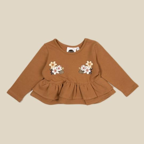 Bouquet Peplum Sweater- French Terry
