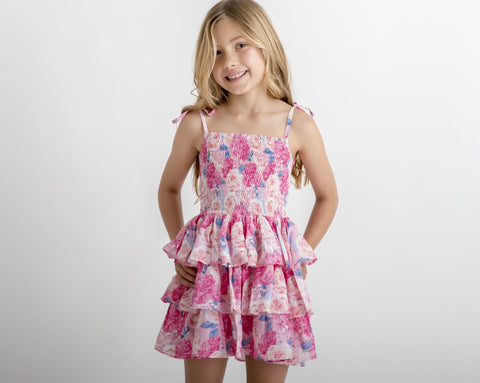 Fluro Pink Floral Tiered Shirred Dress