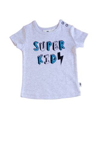 Super Kid Short Sleeve Tee- grey marle