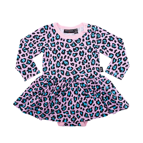 Pink Leopard- Baby LS Waisted Dress