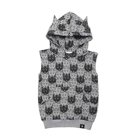 Wolf Camo Hooded vest- grey marle French Terry