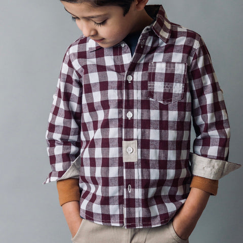 Boys Large Gingham check shirt- Maroon