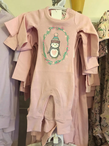 Penguin Footless pullover suit- pink