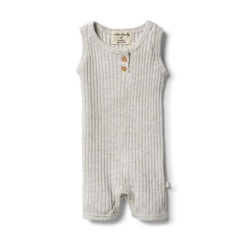 Organic Rib Growsuit-Grey Marle