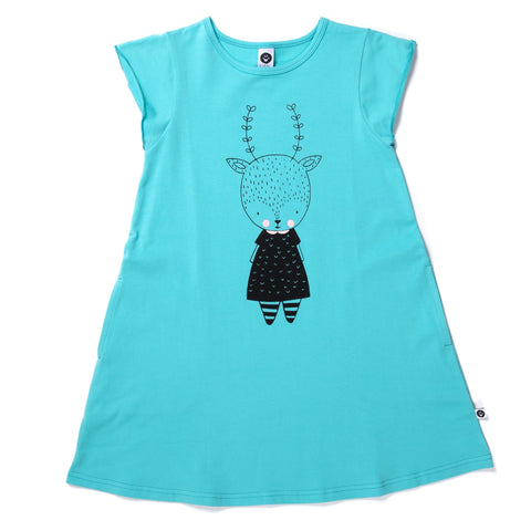 Cute Deer Dress- Turquoise