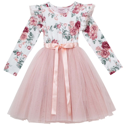 AUDREY FLORAL L/S TUTU DRESS - TEA ROSE PREORDER