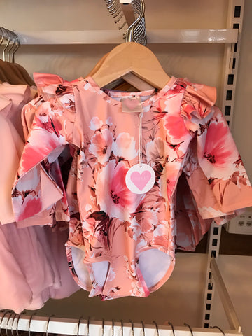 Pink blossom long sleeve Frill leotard