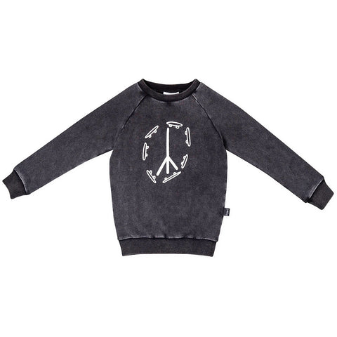 Skate & Peace Placement Jumper- Acid Wash