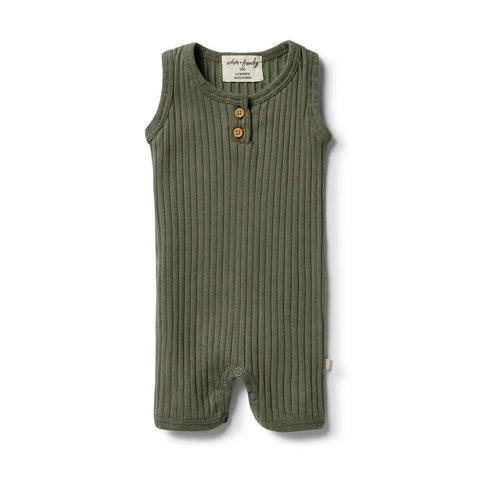 Organic Rib Growsuit- Fern Green