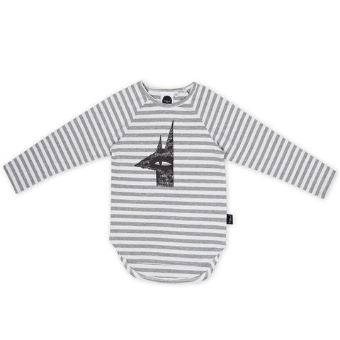 Creep through the night Placement LS Tee- grey/white stripe