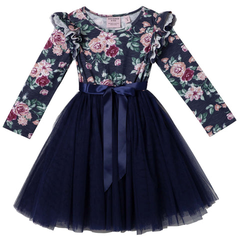 AUDREY FLORAL L/S TUTU DRESS - NAVY PREORDER