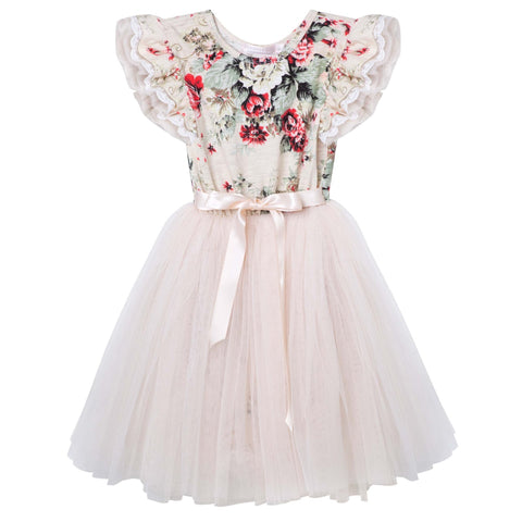 Sadie Floral S/S Tutu Dress- Beige